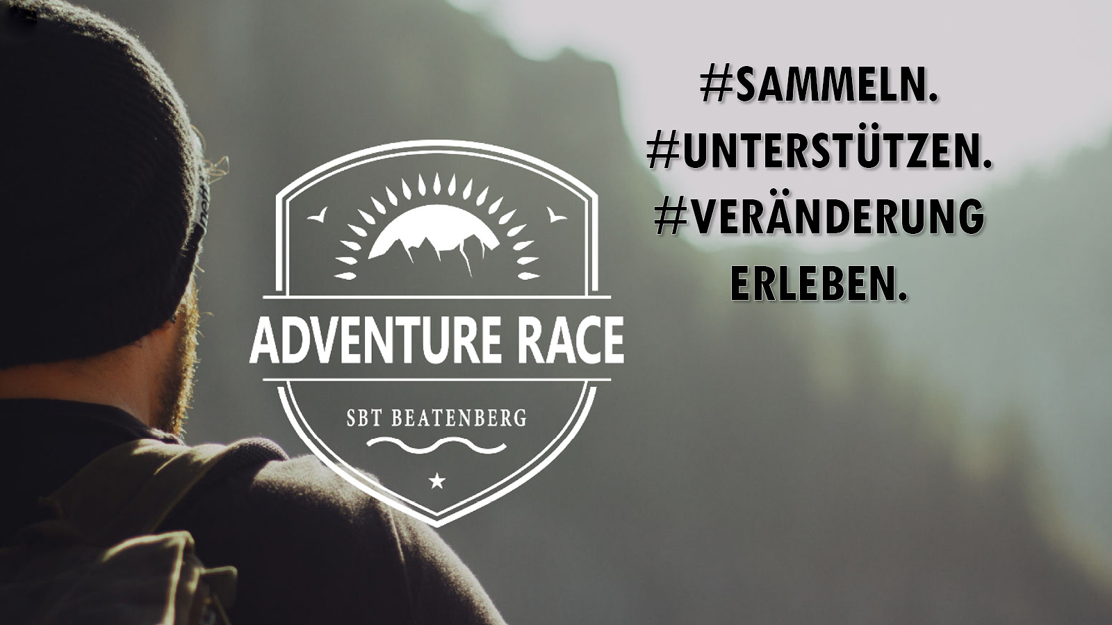 Junger Mann, der die Herausforderung des Adventure-Race annimmt